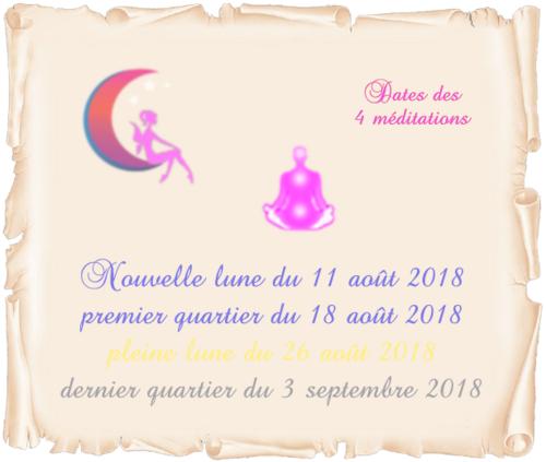Dates des 4 méditations d'août/sept 2018