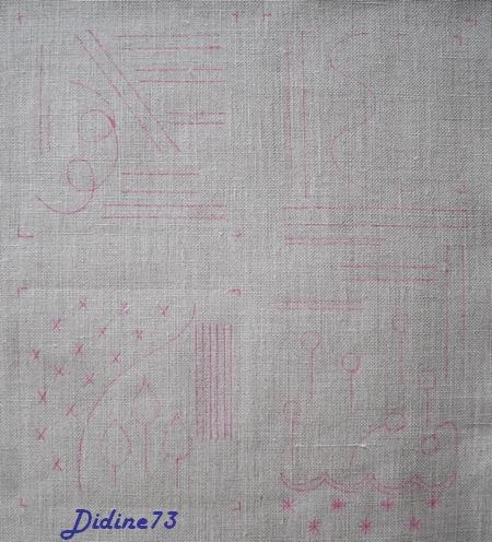 SAL mon cahier de broderie - feuillet 2 - page 3 - le traçage