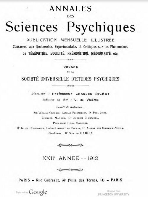 Annales des Sciences psychiques (Juin 1912)