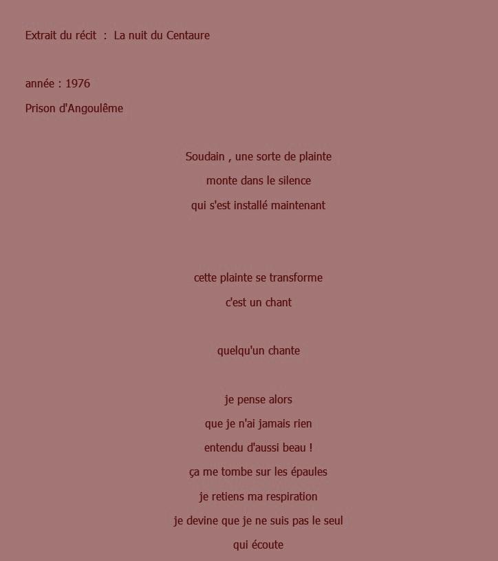 Texte de M . Georges chanteuse prison Angoulême part 1