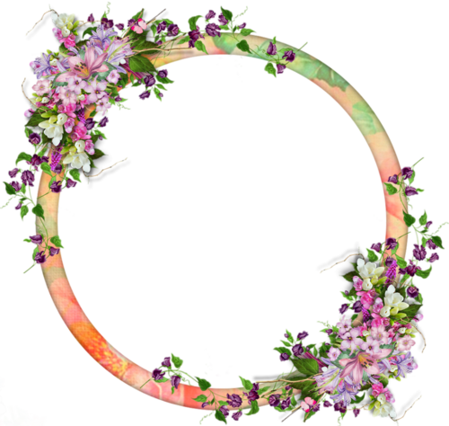 cadre rond fleurs