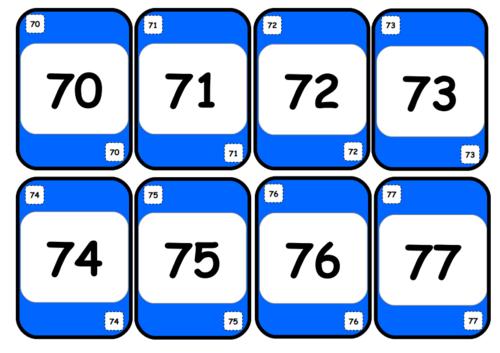 Jeu de UNO au cycle 2 : les nombres de 70 à 100