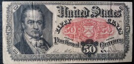 billets de banque USA 50 cents fractional currency