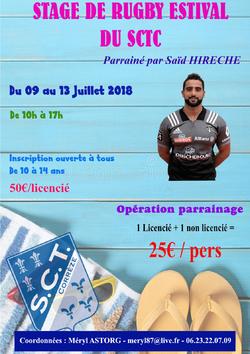 Stage de rugby estival du SCTC - Du lundi 9 au vendredi 13 juillet