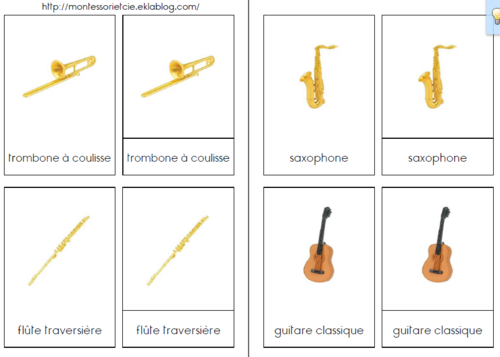 Cartes en 3 parties sur les instruments de musique (figurines Safari LTD)