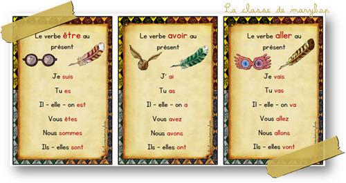 Harry Potter : Cartes de révision et affiches : Avoir, être et aller au présent.