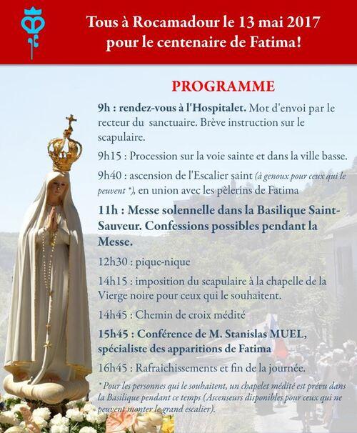 Pélerinage marial à Rocamadour : 13 mai 2017