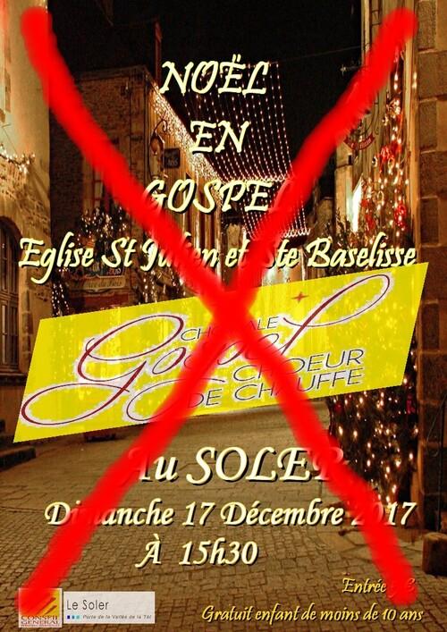 Annulation du concert de gospel prévu le 17 décembre.