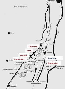 * Etape n° 35 - 8 et 9 janvier 1945 - Ostheim et le bois de  Pfifferwald : ultimes tentatives du BM XI pour rompre l'encerclement du BM 24