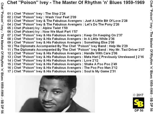 "Chet ''Poison'' Ivey : CD "" The Master Of Rhythm 'n' Blues 1959-1969 "" SB Records DP 56 [ FR ]"