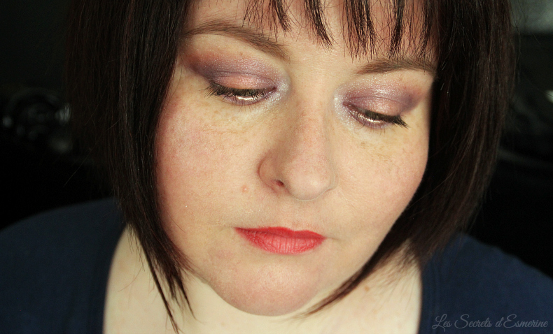 maquillage en lilas et melon - violet et orange