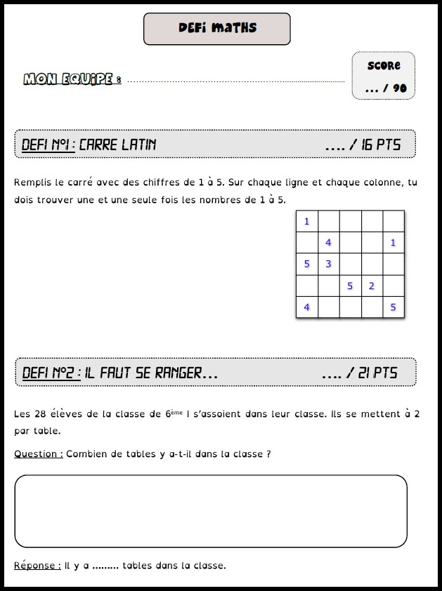 image défis maths 3