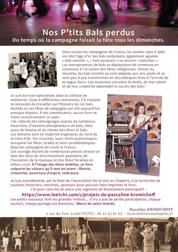 """Un beau livre """"Nos petits bals perdus"""" de Pascaline Kromicheff, sollicite votre aide pour son édition"""