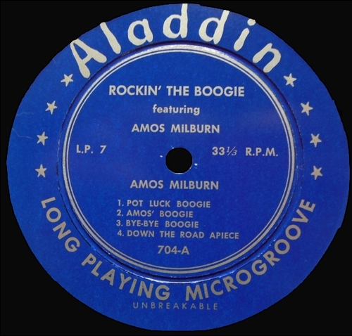 "Amos Milburn : Album "" Rockin' The Boogie "" Aladdin Records 704 [ US ]"