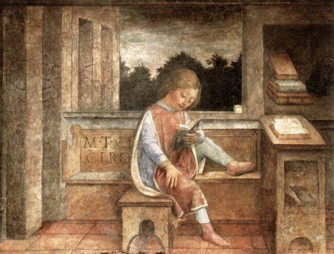 Le jeune Cicéron lisant un livre
