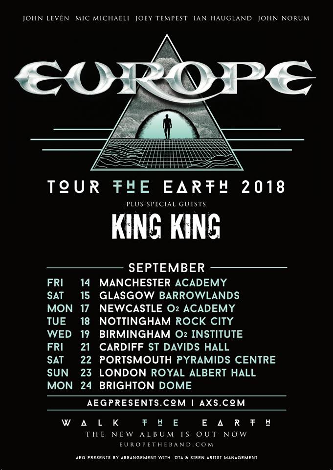 EUROPE : Nouvelles dates pour tournée Walk The Earth