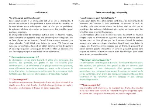La grammaire au jour le jour mise à jour du tome 1 version 2018-2019
