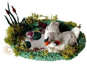 Diorama cygnes sur l'éta,g, modelage - Arts et sculpture: sculpteur, artisan d'art