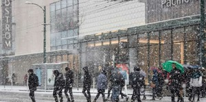 books walking city snow winter