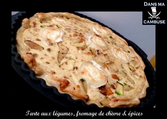 tarte aux légumes, fromage de chèvre et épices