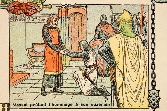 Vassal prêtant serment à son suzerain. Illustration parue dans Histoire de France (Tome 1) de Gustave Gautherot (1934)