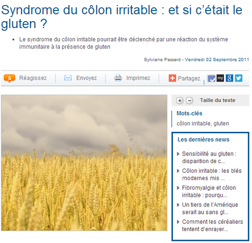 Syndrome du côlon irritable : et si c'était le gluten ?