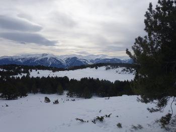 A droite du Cambre d'Aze, les vallées d'Eyne, de Llo et d'Err. Au fond, tout blanc, le massif du Puigmal