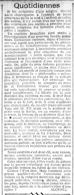 Quotidiennes - sur l'inauguration d'un temple (Gazette de Charleroi, 5 octobre 1912)(Belgicapress)
