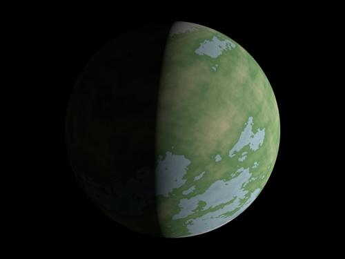 Un exemple d'une texture de planète sur une sphère