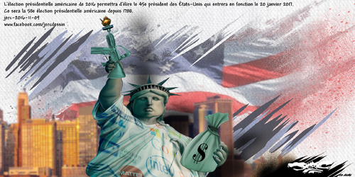 dessin de JERC mercredi 09 novembre 2016 caricature élection américaine l'expression la peste ou le choléra n'a jamais eu autant de sens  www.facebook.com/jercdessin