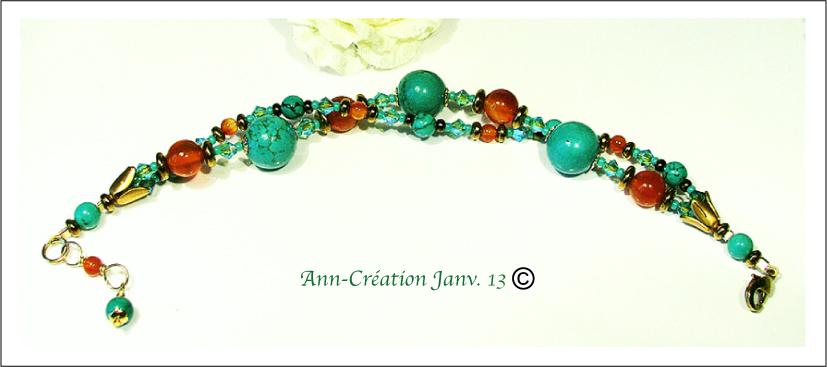 Bracelet 2 rangs Pierres de Turquoise & Cornaline, Cristal de Swarovski / Plaqué Or Gold Filled