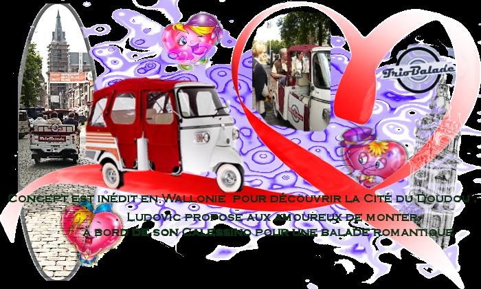 rondleidingen in Mons ,vespa,   triporteur n PIAGGIO APE CALESSINO,trobalade, Saint-Valentin ,Mons2015,