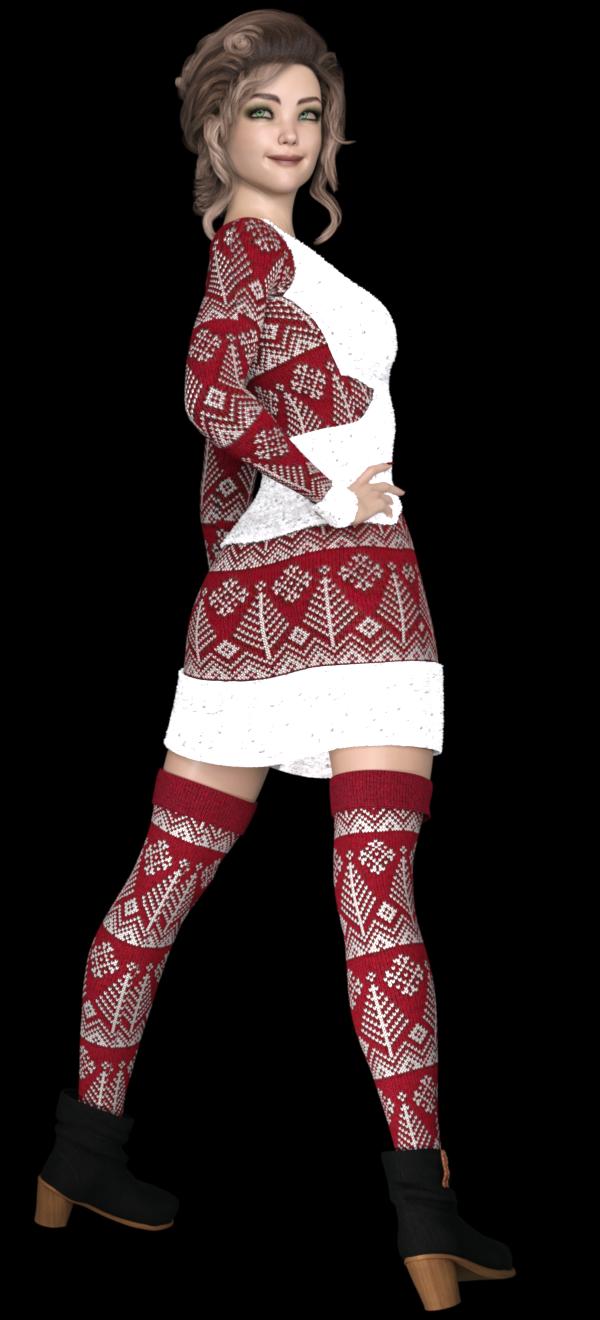 Tube de jeune femme en tenue de Noël
