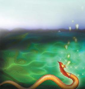 Le serpent Nâga,selon la tradition...sur le lit du fleuve Mékom.