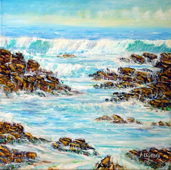 Peinture acrylique: Vagues déferlants sur les rochers de Villaricos en Andalousie.