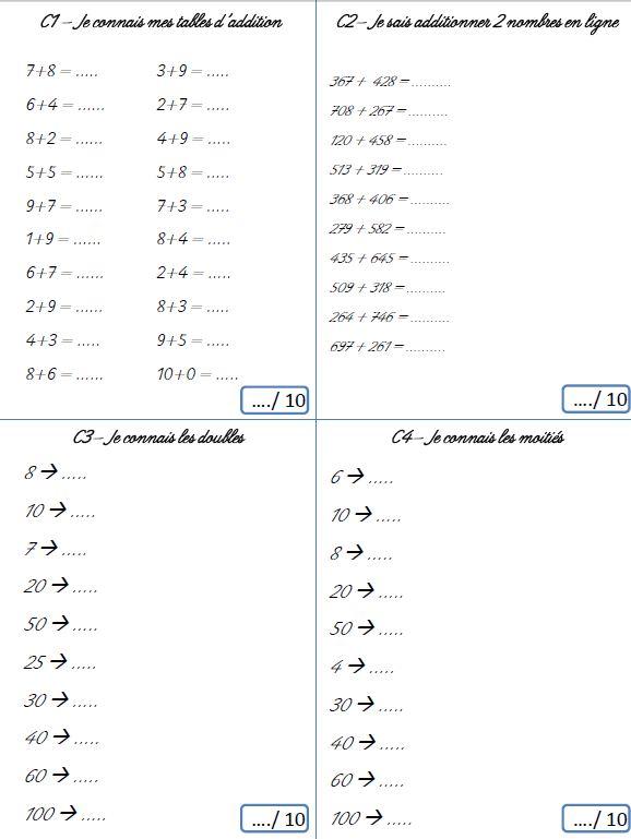 Fiche a imprimer maths ce2
