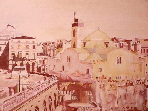 Place des Martyrs (ex place du gouvernement) .Peinture à l'hile (repro) .Mohamed Aib .