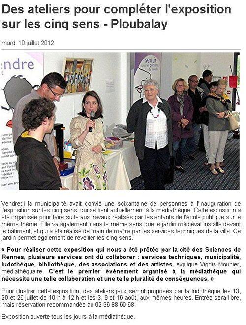 Ouest France - 10/07/2012 - Des ateliers pour compléter l'exposition sur les cinq sens