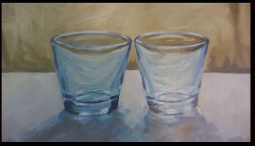 Dessin et penture - vidéo 1897 : Comment peindre la transparence à la peinture à l'huile ? - les 2 verres.