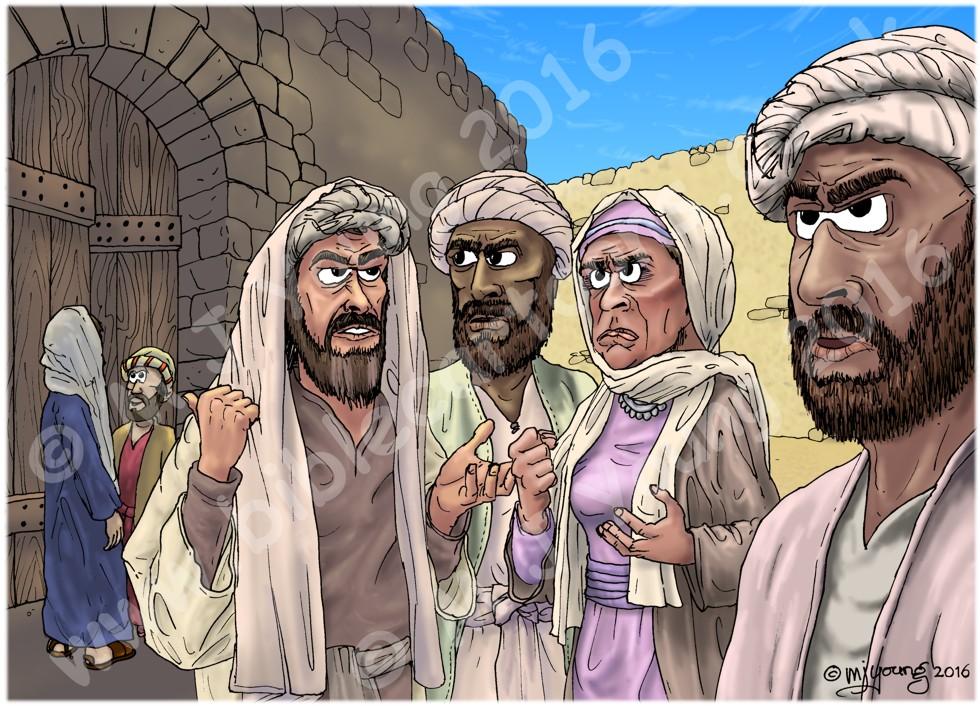 Luke 19 - Zacchaeus the tax collector - Scene 06 - Grumblers (Colour version) 980x706px col