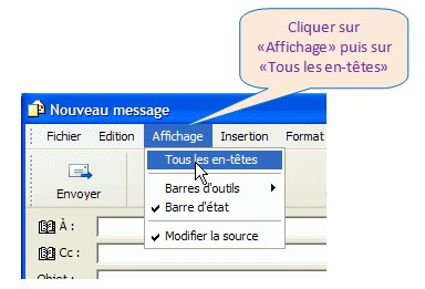 Outlook Express  - Afficher le champ de Copie conforme invisible