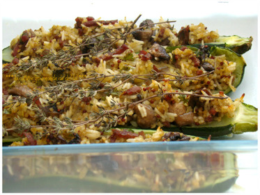 COURGETTES FARCIES AUX CHAMPIGNONS ET AU BACON,(Weight watchers)