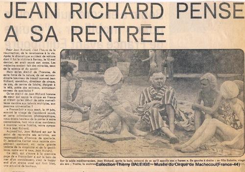 La convalescence de Jean Richard à l'été 73 après son grave accident de voiture du 10 mai 1973 ( archives Thierry Baleige)