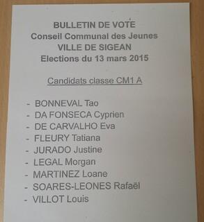 Le vote des élèves du CM1a pour le Conseil Communal des Jeunes de Sigean