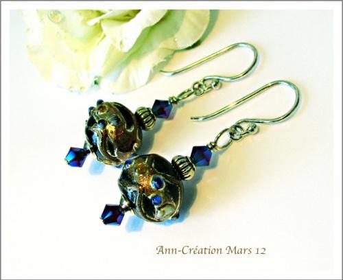 Boucles Perles Indiennes Noir - Bleu / Cristal de Swarovski / Argent 925