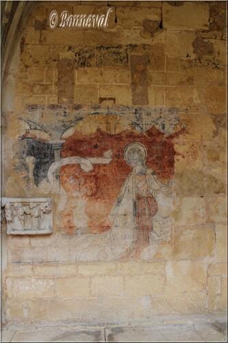 Abbaye de Cadouin Dordogne galerie Nord fresque de l'Annonciation 15ème siècle