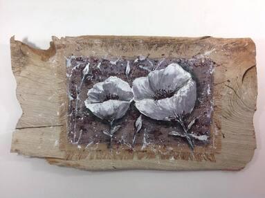 Fleurs de Pavot tableau en bois flotté