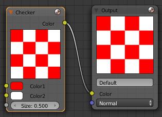Pour faire une texture en damier, il faut juste 2 nodes