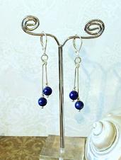 Boucles pierres quartz blanc, hématite, lapis-lazuli...