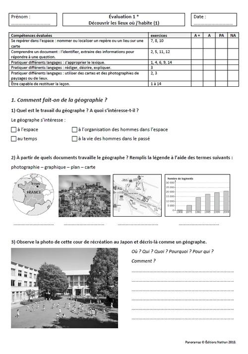 Evaluations fichiers hist-géo Panoramas Nathan CM1 et CM2